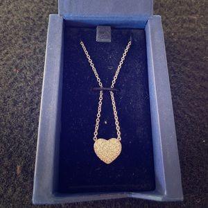 Reversible Swarovski heart pendant necklace in box